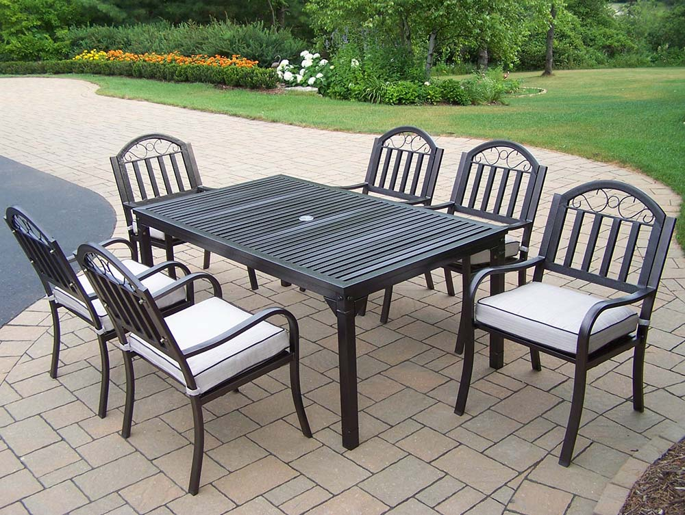 Learn more about Rochester Rectangular Dining Set Cushions Product Photo