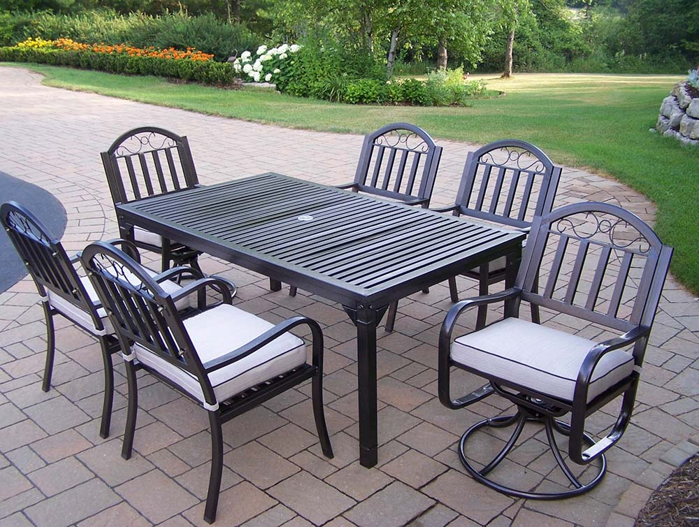 Choose Rochester Dining Set Swivel Chairs Cushions Product Photo