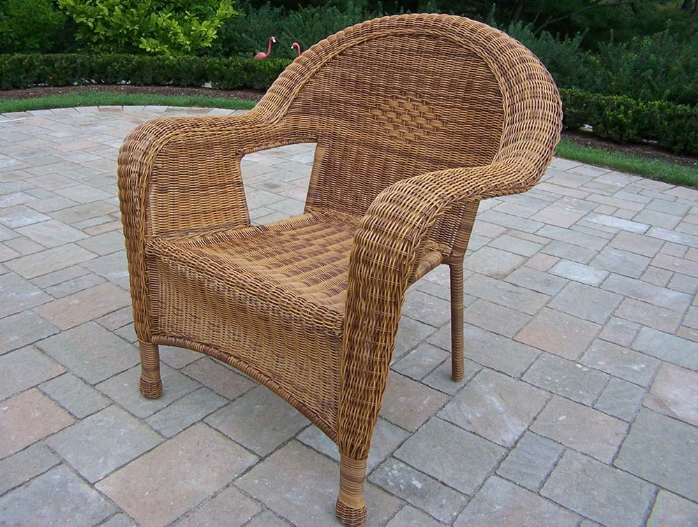 Stylish Resin Wicker Outdoor Arm Chair Natural Product Photo