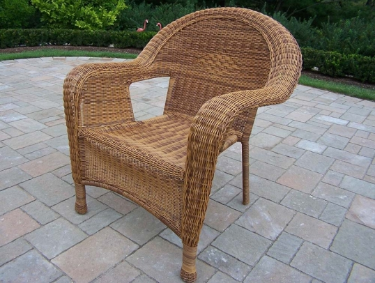 Great Slim Logo; Resin Wicker Outdoor Arm Chair In Natural