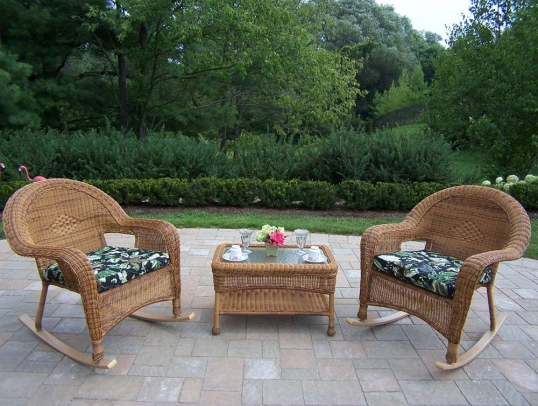 Pleasing Oakland Living Resin Wicker Outdoor Rocking Chairs With Inzonedesignstudio Interior Chair Design Inzonedesignstudiocom