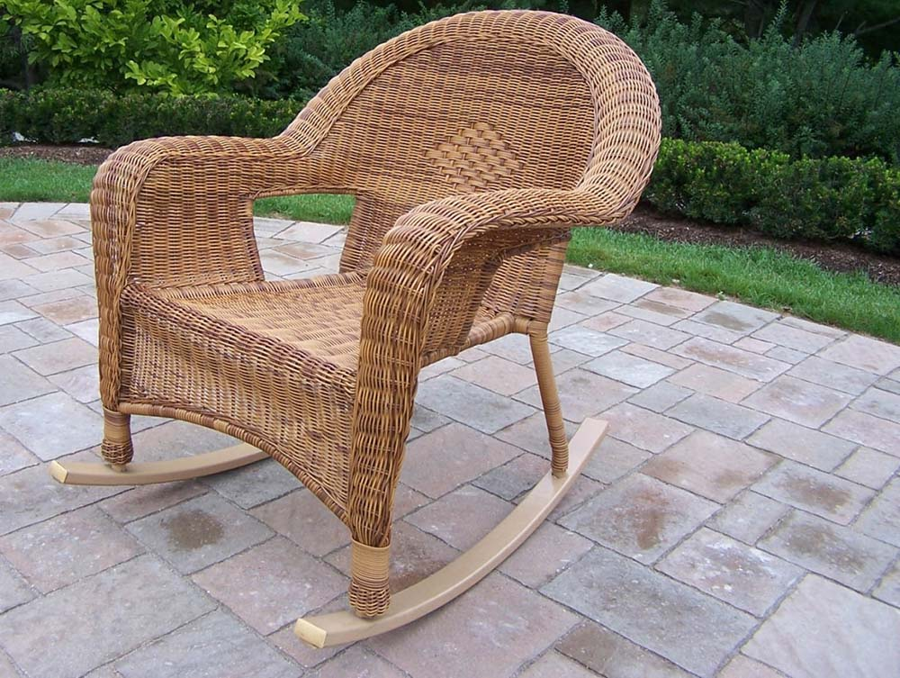 Beautiful Resin Wicker Patio Rocker Natural  32 824