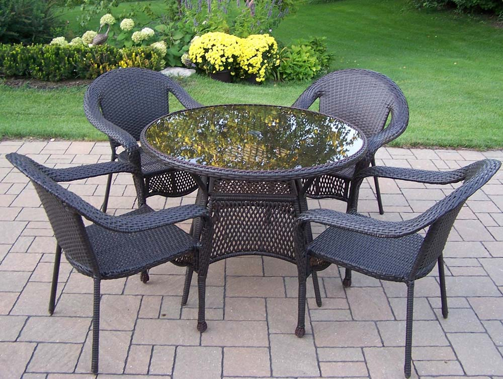 Information about Elite Wicker Arm Chairs Glass Top Table Dining Set Product Photo