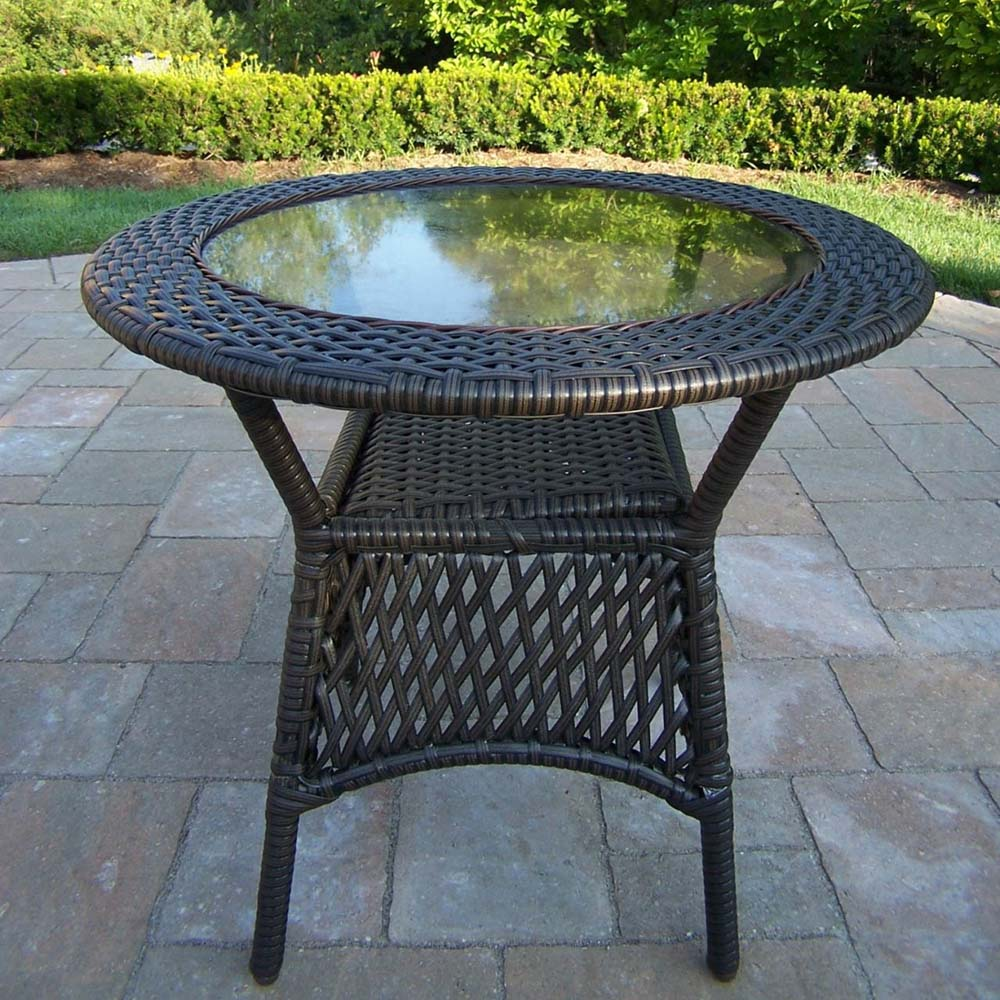 Information about Elite Resin Wicker Glass Top Coffee Table Product Photo