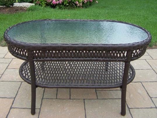 Slim Logo Elite Resin Wicker Oval Glass Top Outdoor Coffee Table
