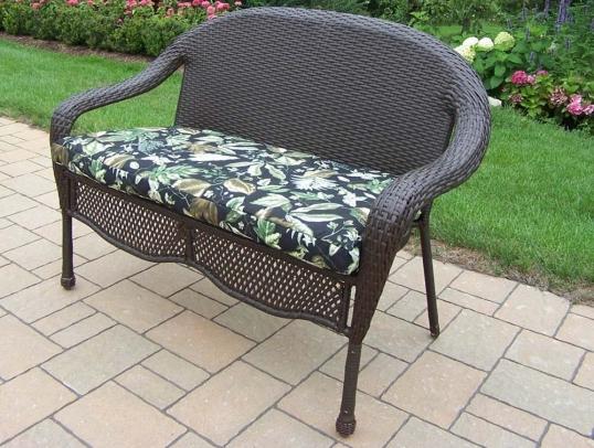 Slim Logo; Elite Resin Wicker Outdoor Cushion Patio Loveseat