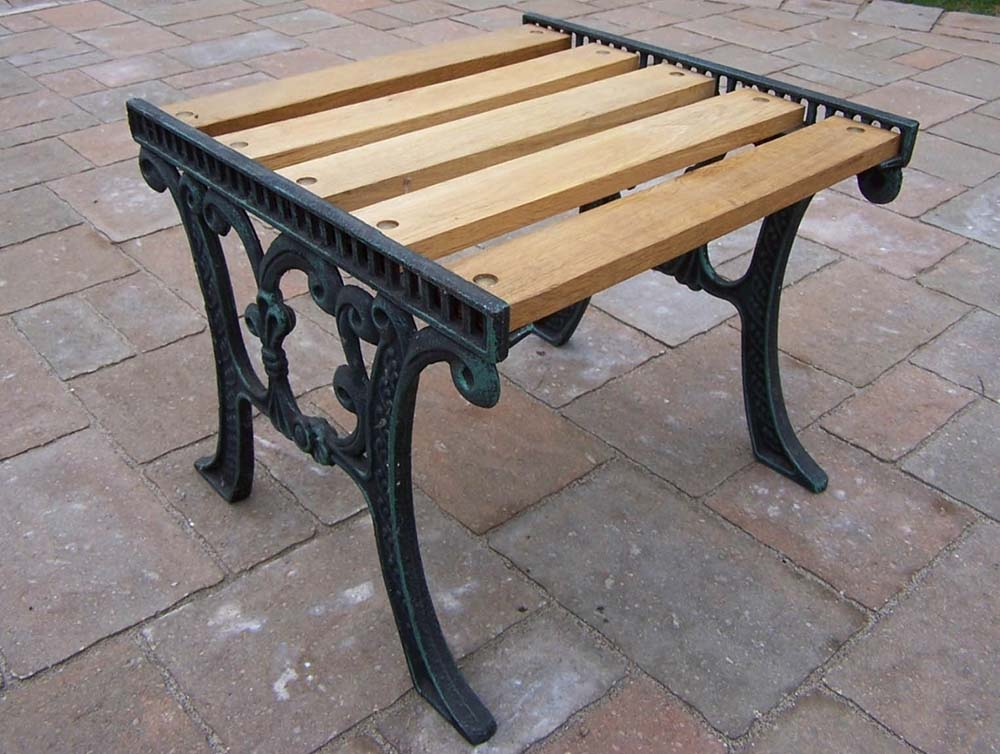 Oakland living cast iron and wood end table pt 5e vgy for Cast iron table ends
