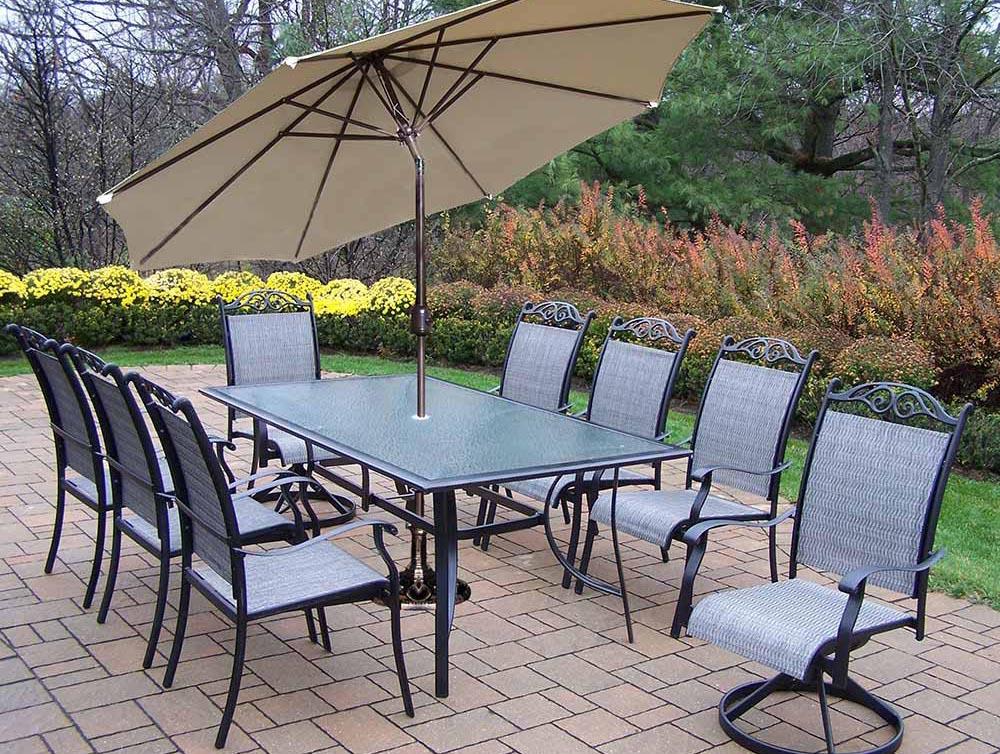 11pc Dining Set: 6 Chairs, 2 Swivel Rockers, Umbrella