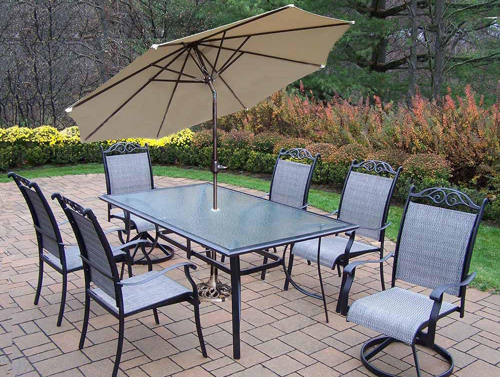 9pc Dining Set: 4 Chairs, 2 Swivel Rockers, 1 Umbrella