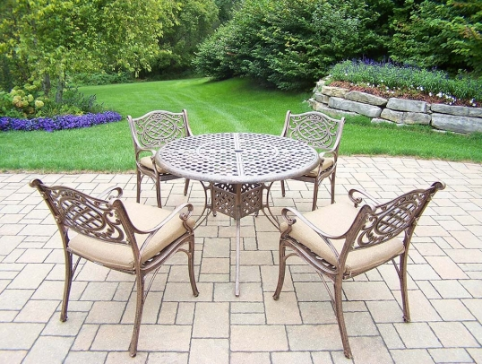 Oakland Living Mississippi 9 Pc Set Table 4 Chairs 4 Cushions