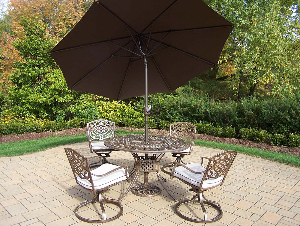 11 Pc Rocker Set: 4 Swivel Rockers, Brown Umbrella