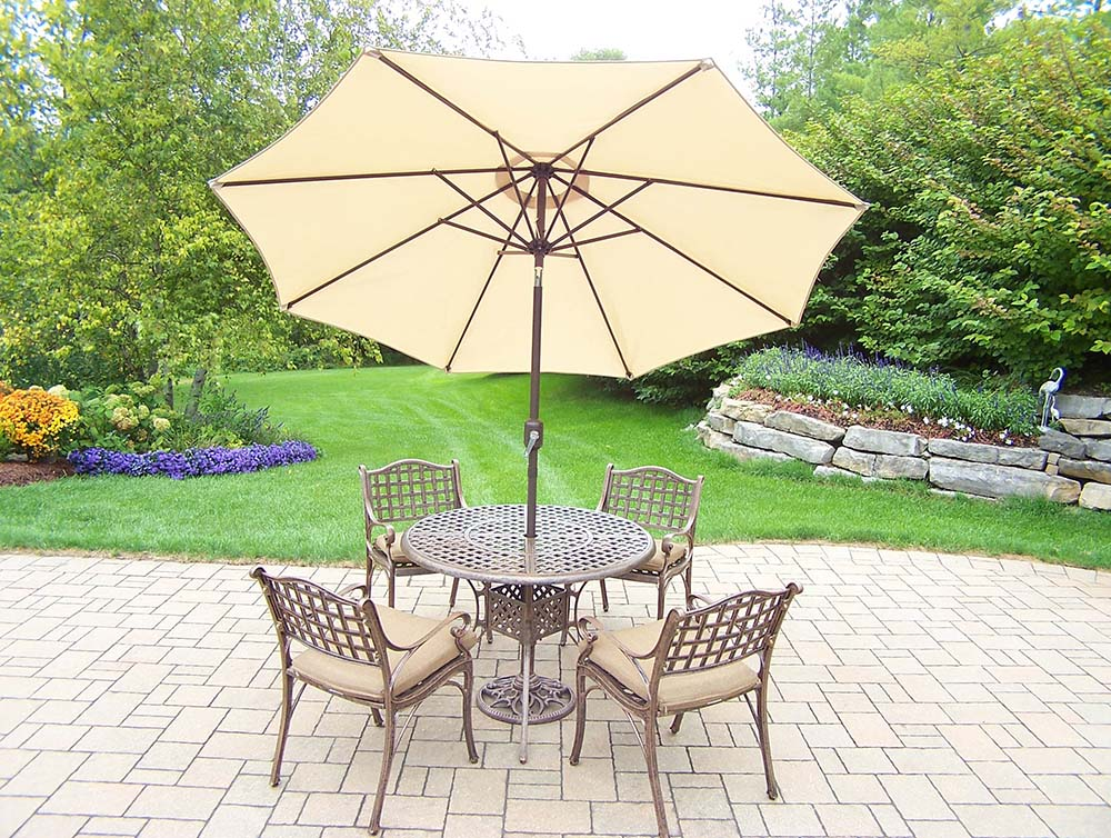 Impressive Elite Set Table Chairs Cushions Umbrella Product Photo