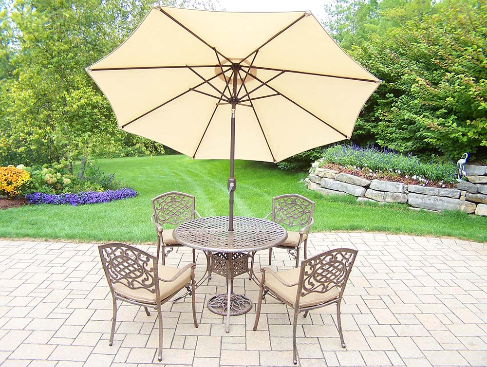11pc Set 4 Stackable Chairs, Beige Umbrella