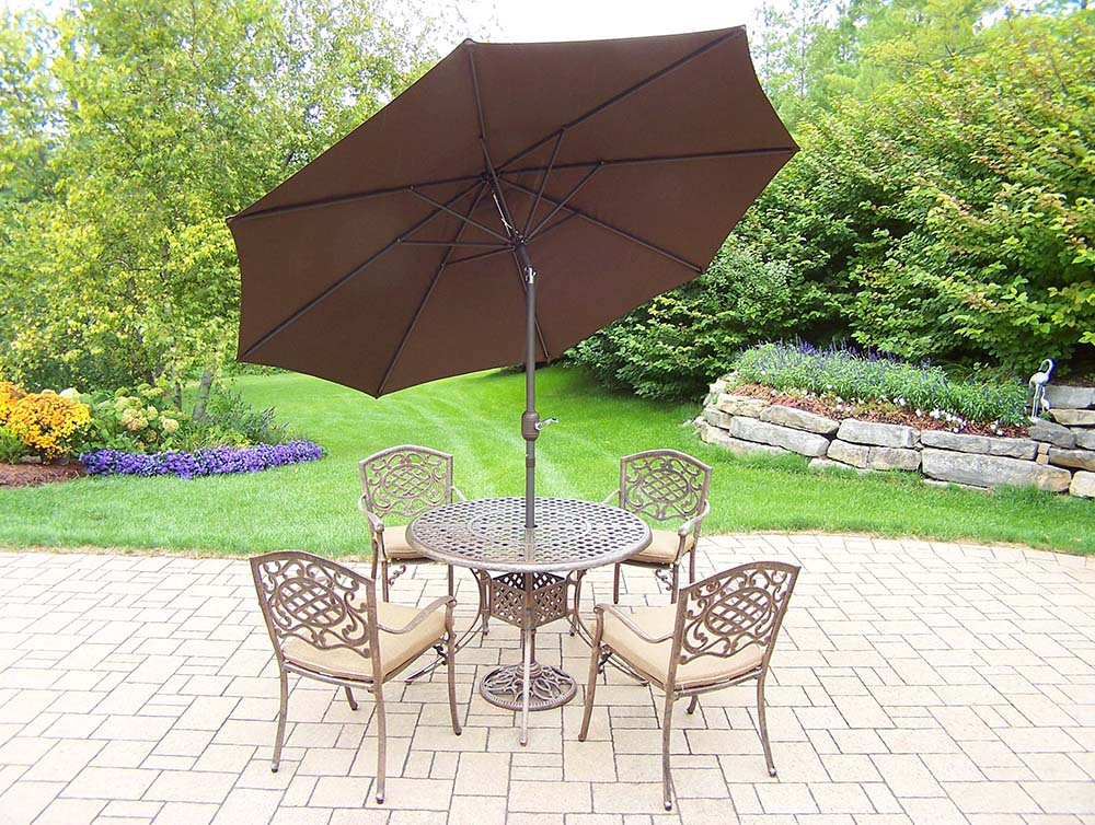 11pc Set 4 Stackable Chairs, Brown Umbrella