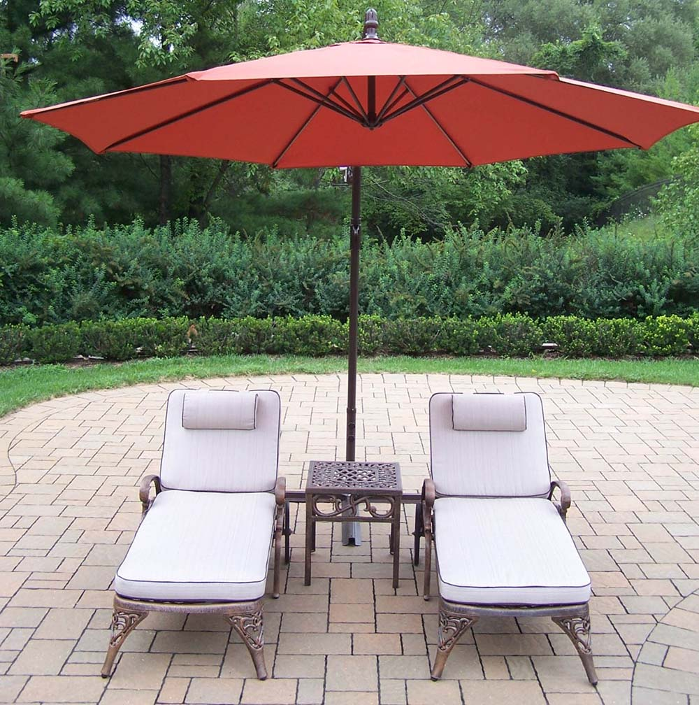 Best-selling Elite Chaise Lounges Side Table Umbrella 7 865