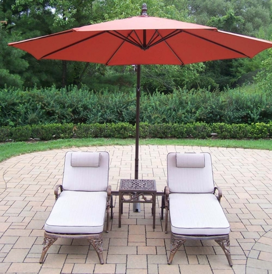 Slim Logo; Elite Chaise Lounges: Side Table, Umbrella - Oakland Living Elite Chaise Lounges: Side Table, Umbrella 1108