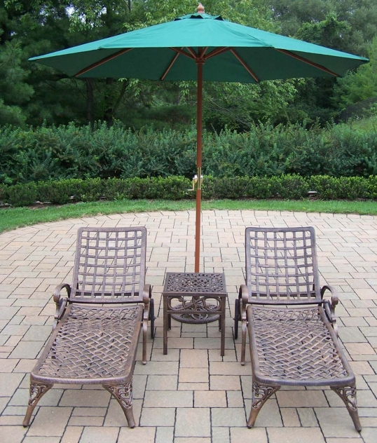 Slim Logo; Elite Chaise Lounges: Side Table, Green Umbrella, Stand