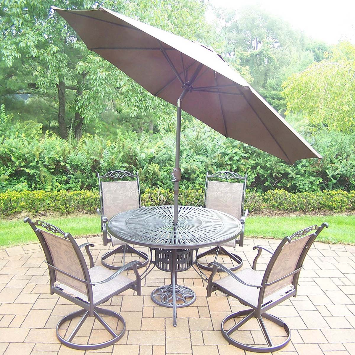 Coffee 7pc Set: Table, 4 Swivel Rockers, Brown Umbrella