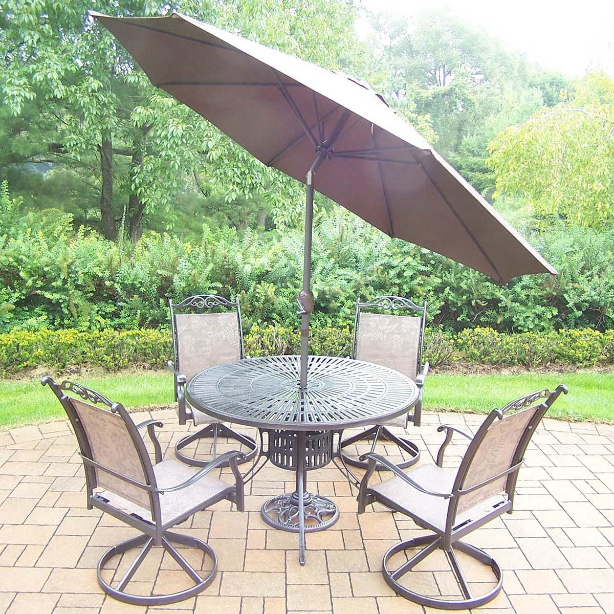 Coffee 7pc Set: Table, 4 Swivel Rockers, Brown Umbrella