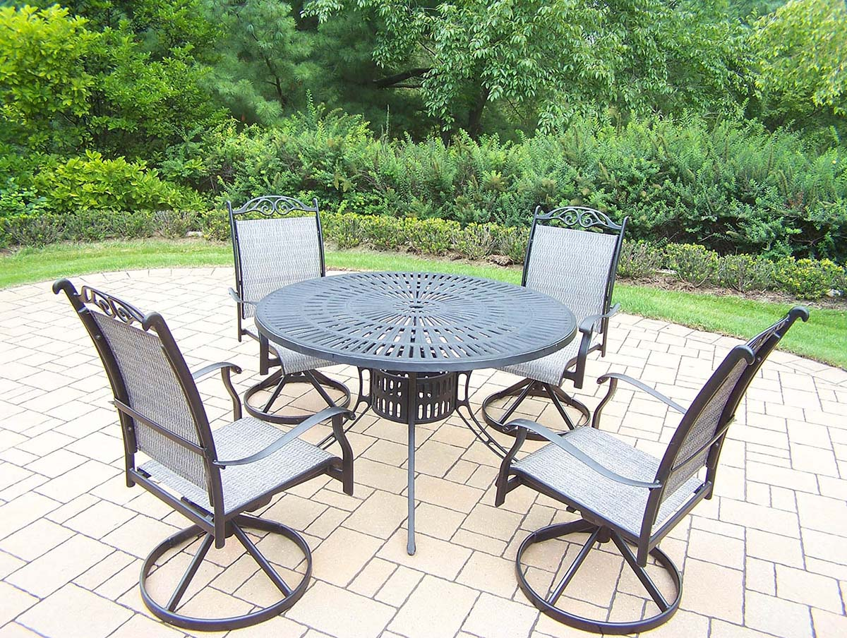 Black 7pc Rocker Set: Table, 4 Swivel Rockers