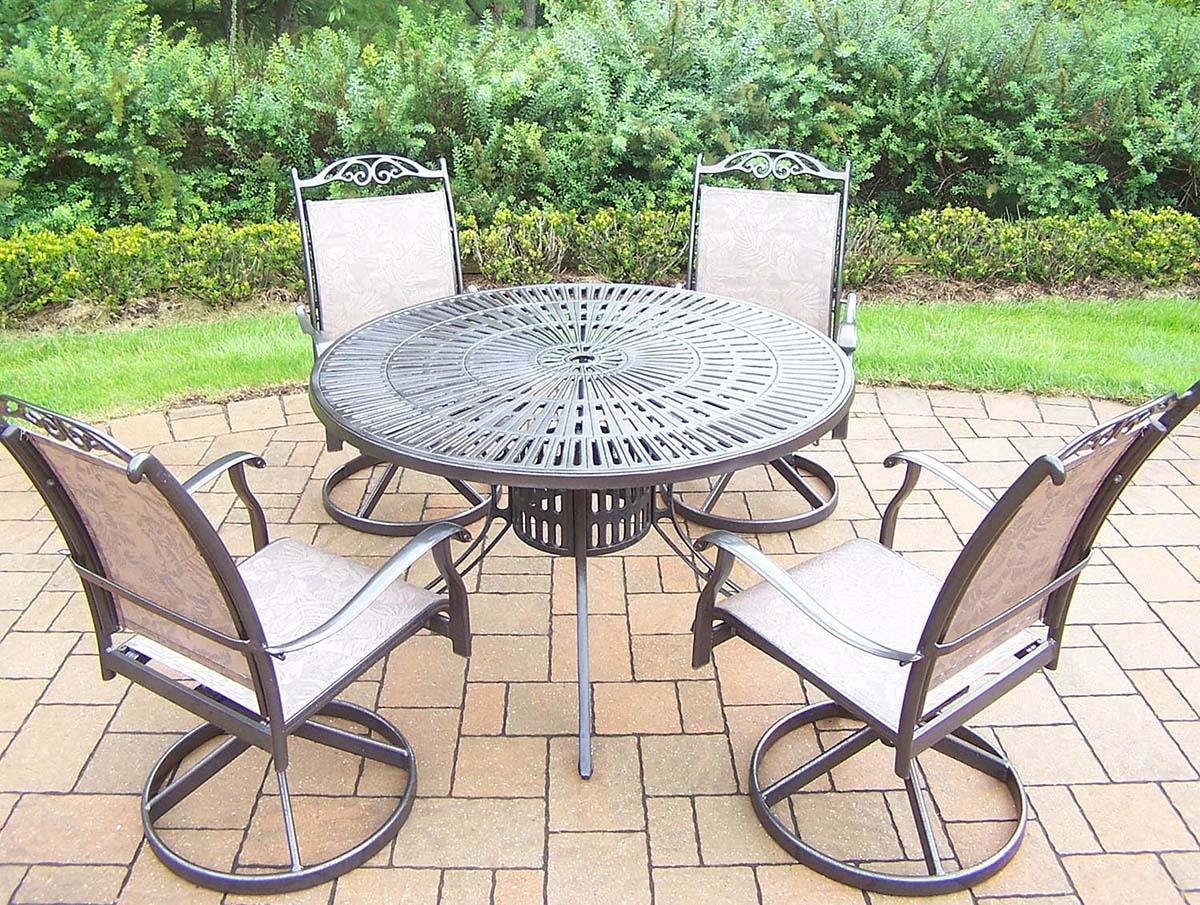 Coffee 7pc Rocker Set: Table, 4 Swivel Rockers