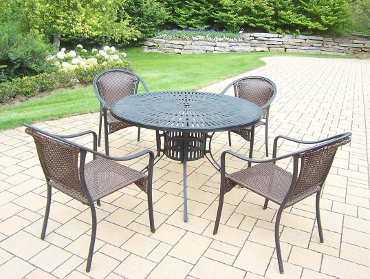 Slim Logo; 5pc Set: Table, And 4 Stackable Resin Wicker Chairs