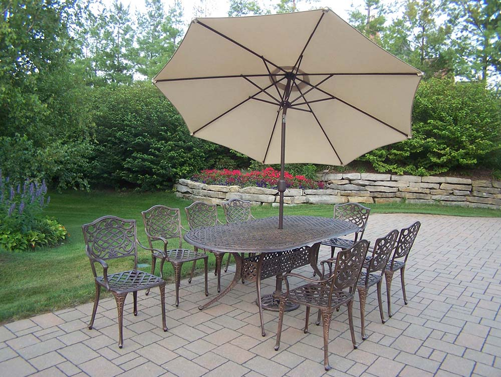 High-class Mississippi Oval Dining Set Umbrella Base Product Photo