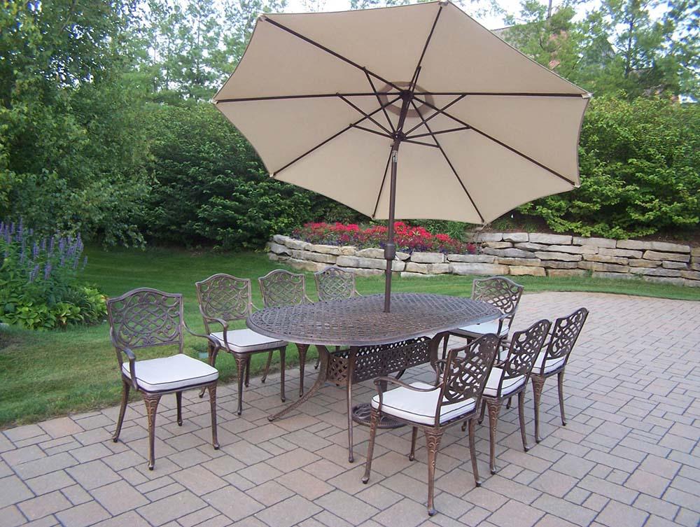 Longstanding Mississippi Oval Set Cushions Umbrella Product Photo