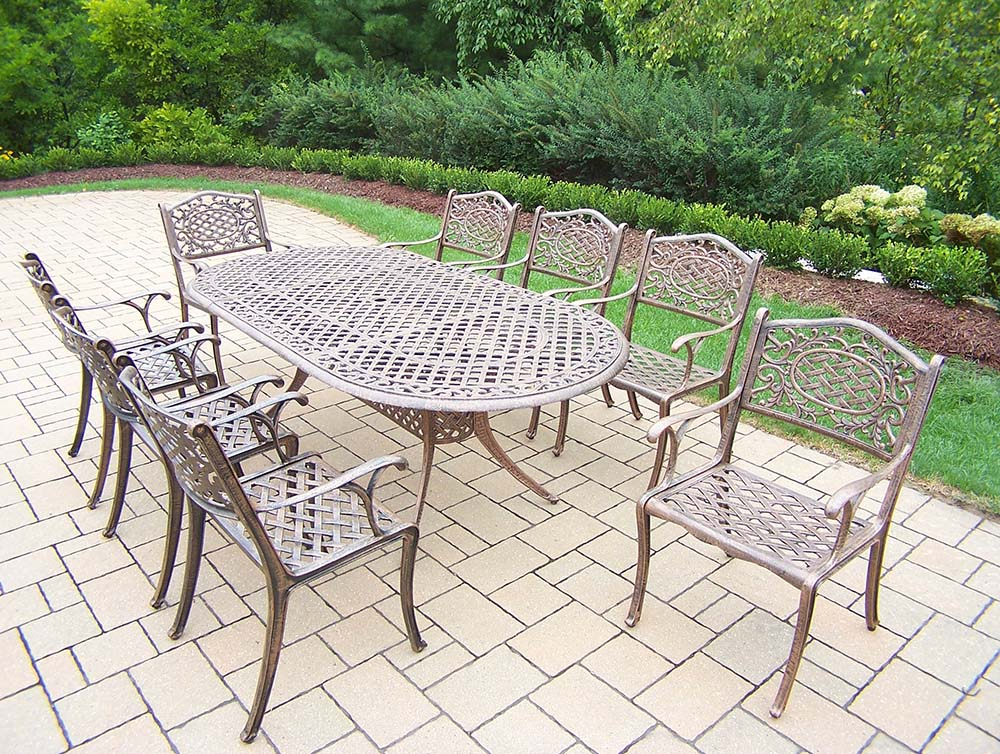 View Mississippi Cast Aluminum Dining Set Table Chairs Product Photo
