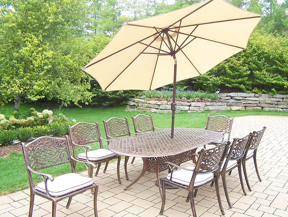 Remarkable Mississippi Dining Set Table Chairs Umbrella Product Photo