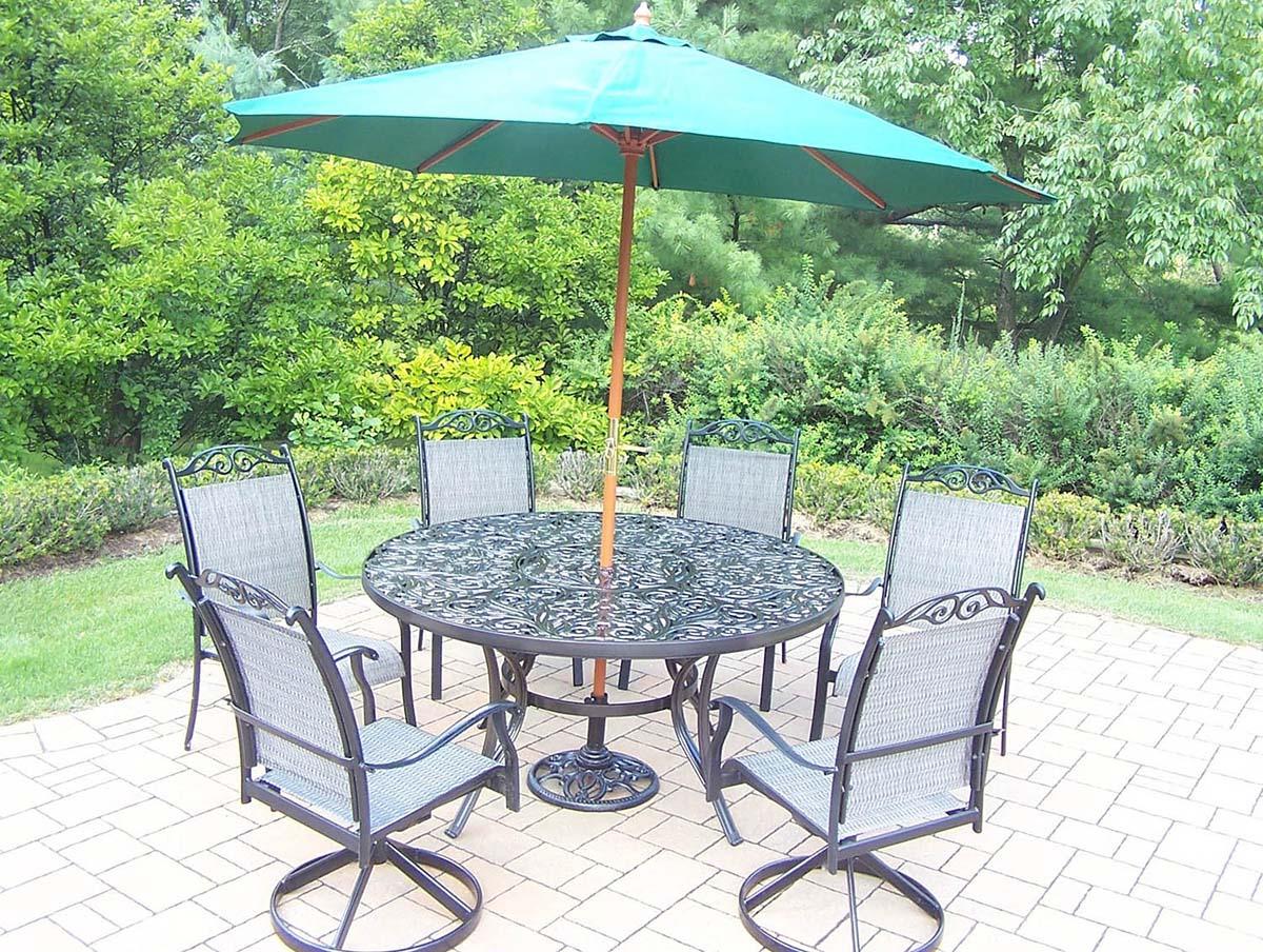 9pc Set: Round Table, Swivel Rockers, Chairs, Umbrella
