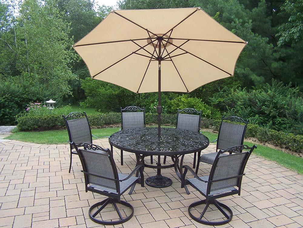 9pc Set: Table, 2 Rockers, 4 Chairs, Beige Umbrella