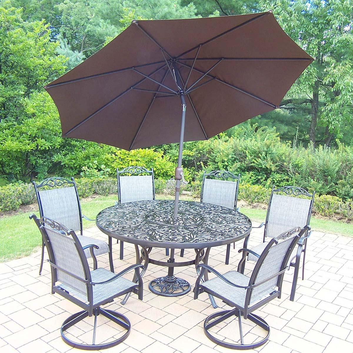 9pc Set: Table, 2 Rockers, 4 Chairs, Brown Umbrella