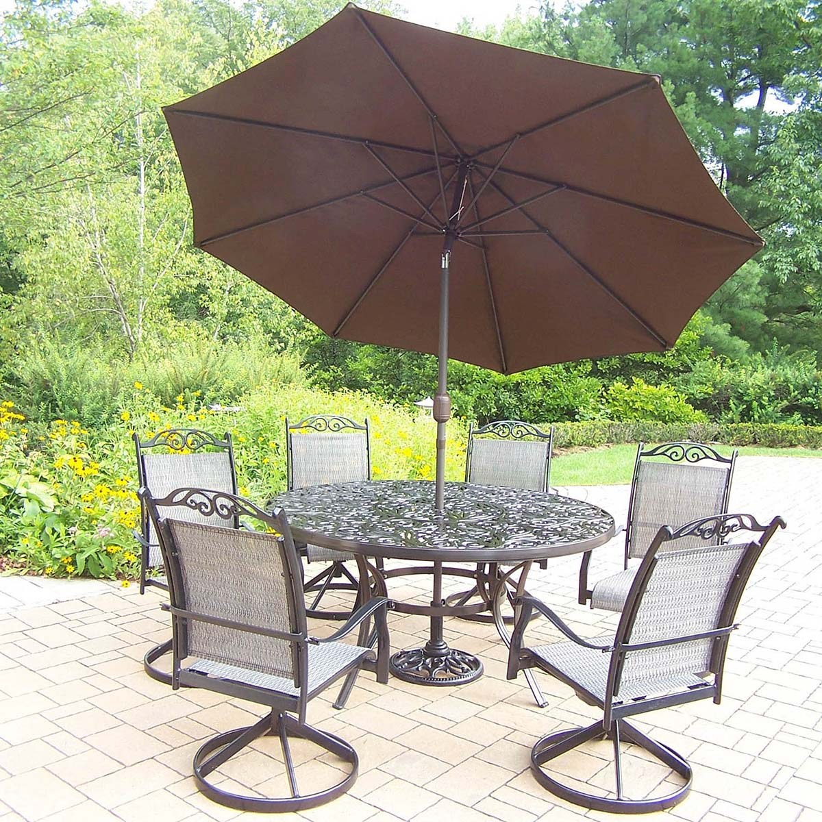 9pc Dining Set: Table, Rockers, Brown Umbrella & Stand