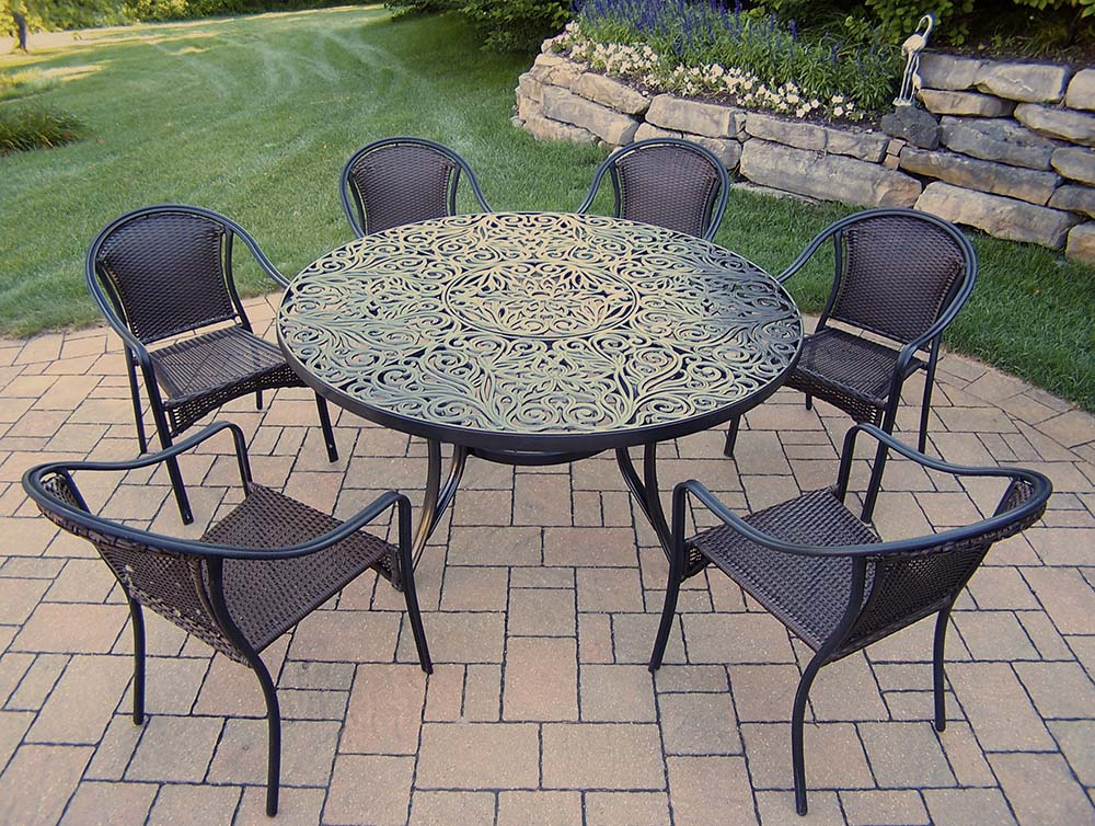 Choose Black Tuscany Set Round Table Stackable Chairs 13 2303