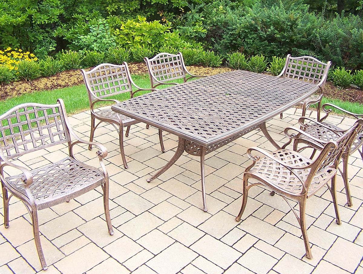 Select Elite Cast Aluminum Dining Set Table Chairs Product Photo