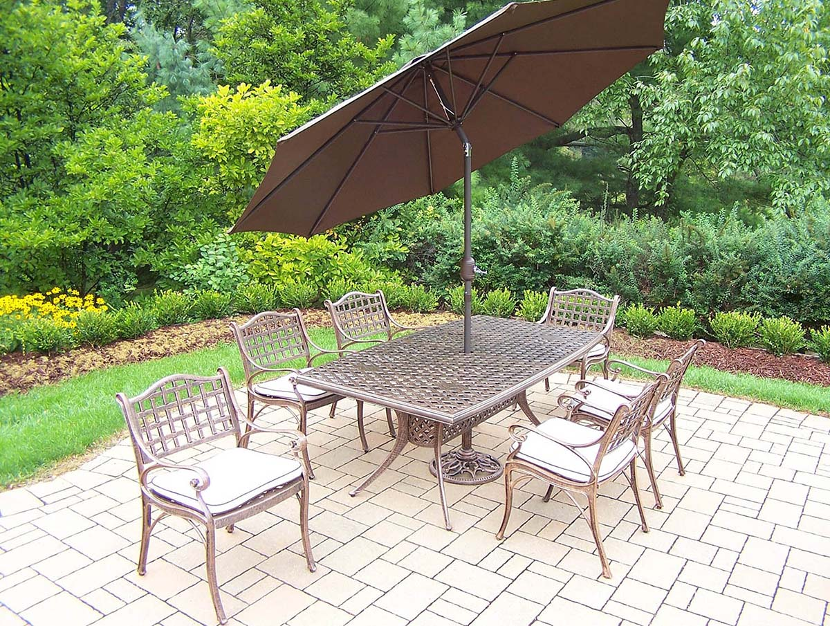 Elite 15pc Set: Table, Chairs, Brown Umbrella & Stand