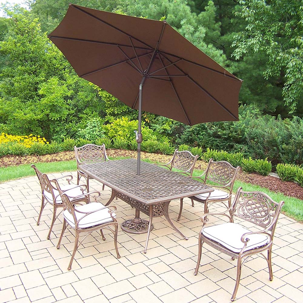Mississippi 15pc Set: Table, 6 Chairs, Umbrella & Stand