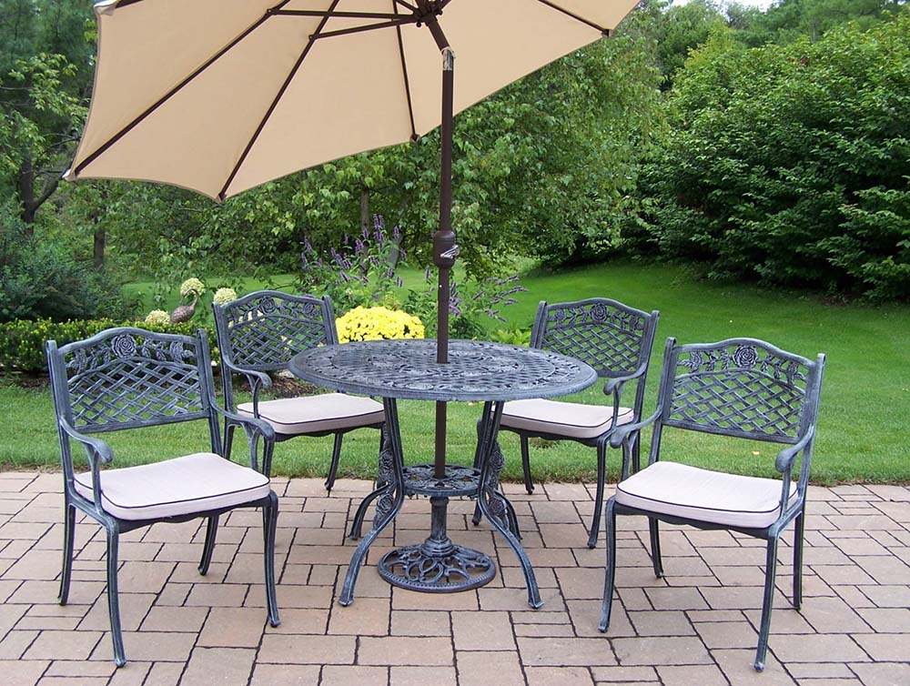 5pc Dining Set: Table, Cushions, Umbrella & Stand