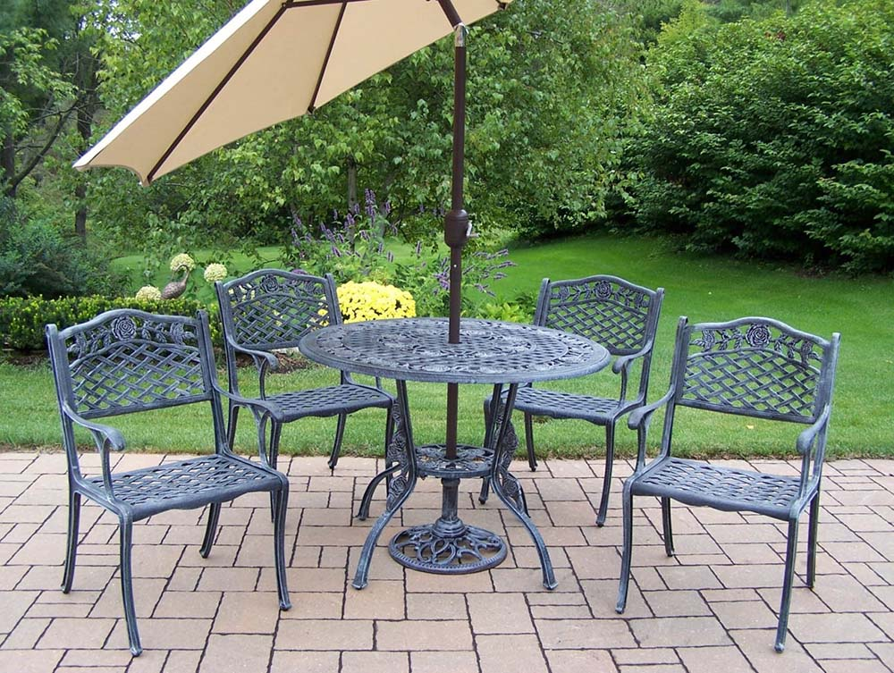 5pc Dining Set: Table, Chair, Umbrella & Stand