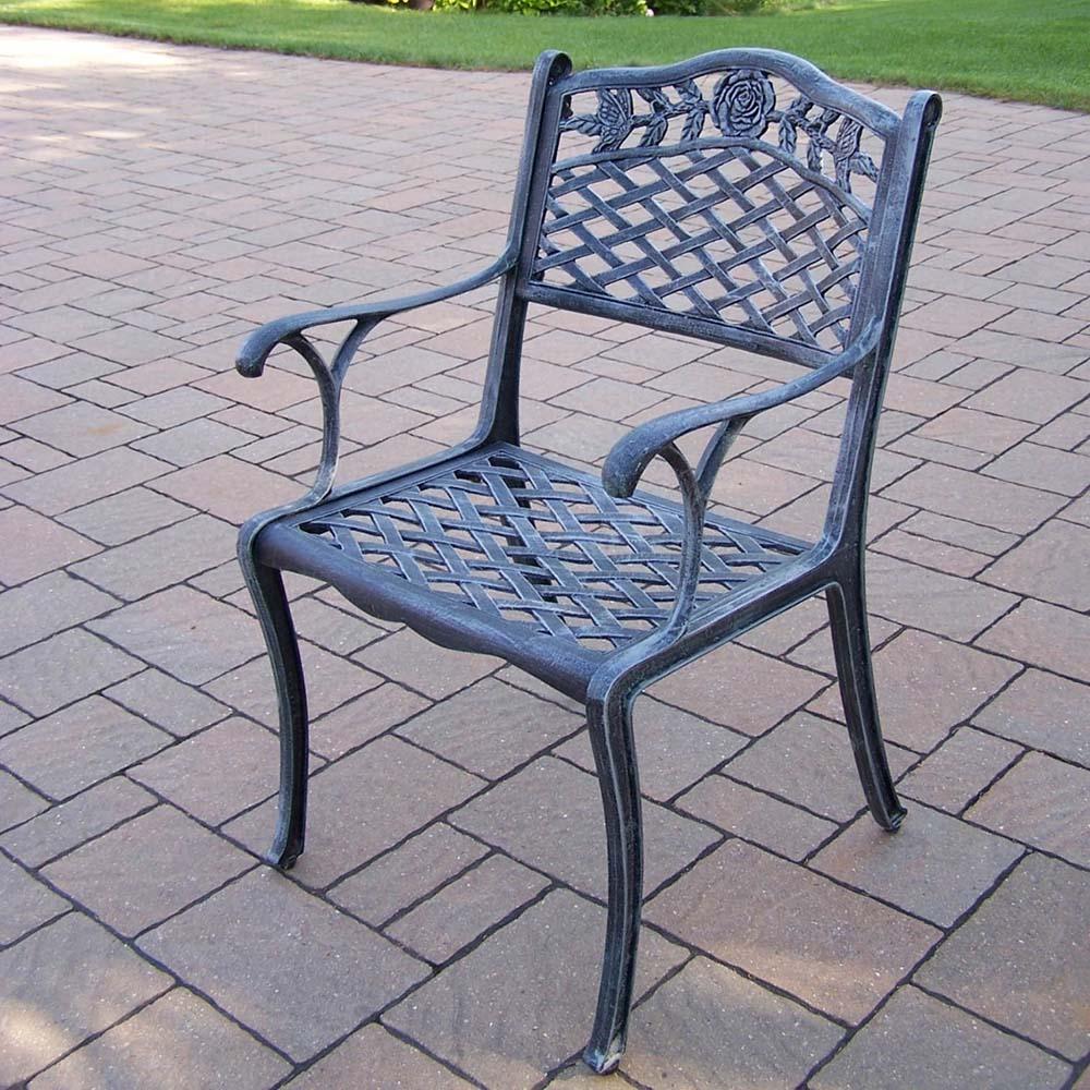 Order Verdi Grey Tea Rose Cast Aluminum Dining Chair Product Photo