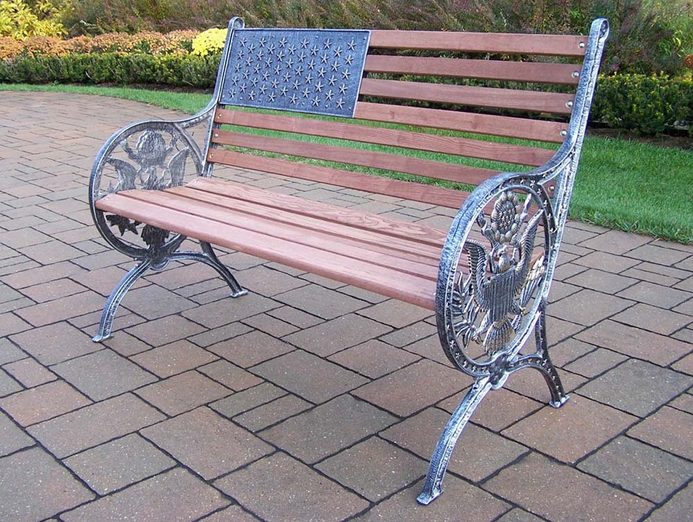 Oakland Living Antique Pewter Proud American Bench 6011 Ap
