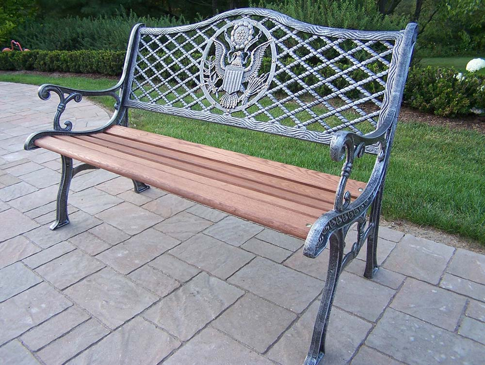 User friendly Antique-Pewter-American-Eagle-Bench Product Image 392