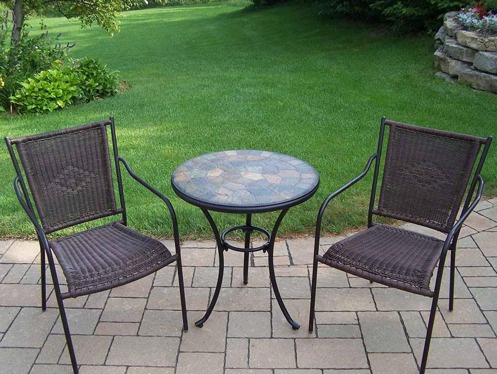 Affordable Bistro Set Straight Back Wicker Chairs Product Photo