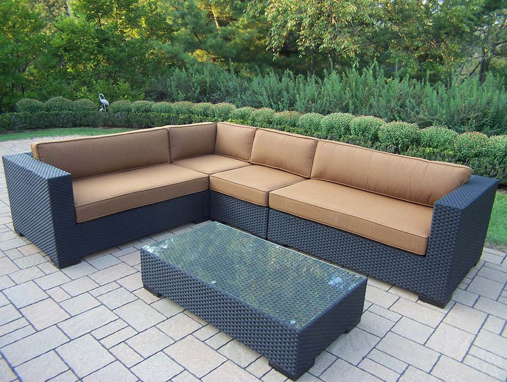 Purchase Hampton Resin Wicker Sectional Sunbrella Cushions Product Photo