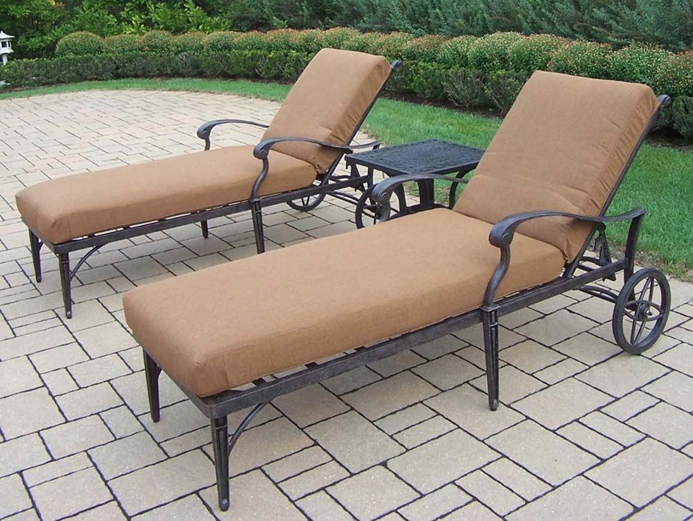 Search Aged Belmont Chaise Lounge Set Sunbrella Cushions Product Photo