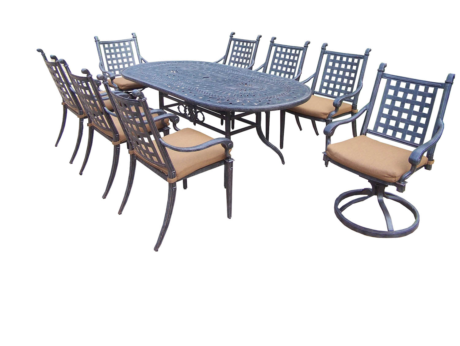 Choose Aged Belmont Oval Dining Set Sunbrella Cushions Product Photo