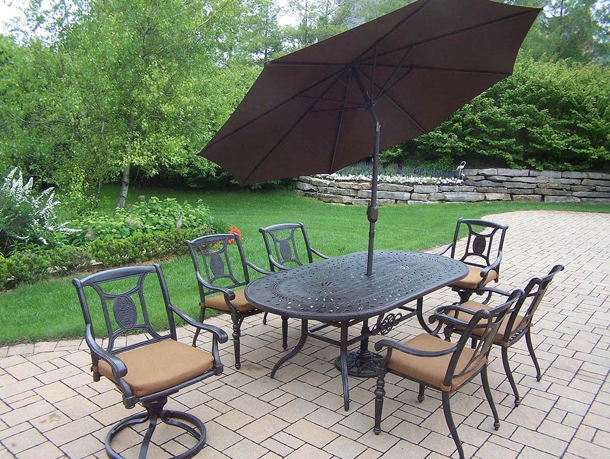 Choose Aged Victoria Set Table Chairs Swivels Umbrella 4 339