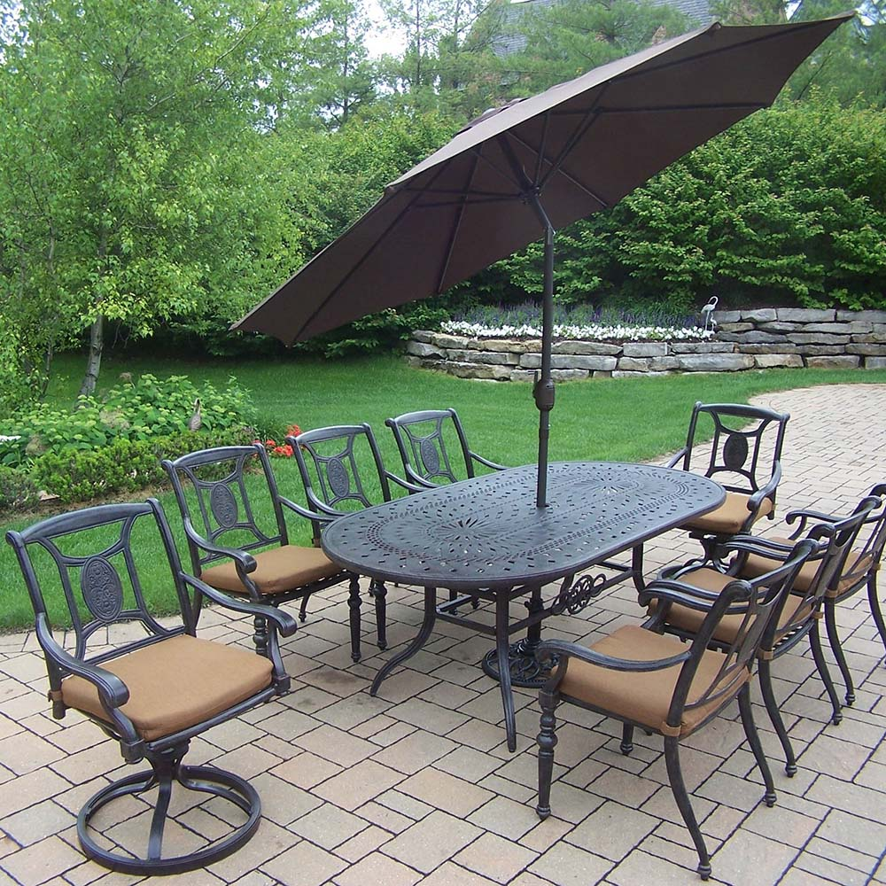Purchase Aged Victoria Set Table Swivels Chairs Umbrella Product Photo
