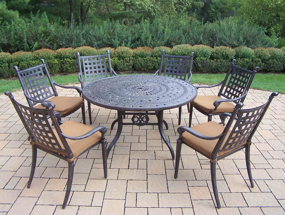 Impressive Aged Belmont Dining Set Sunbrella Cushions 2 392
